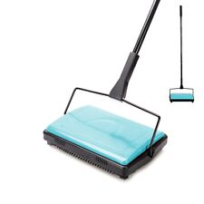 CLEANHOME MANUAL CARPET SWEEPER BRUSH CORDLESS RUG CLEANER DUSTER BROOM-BLUE