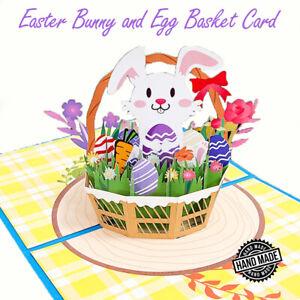 3D Pop-Up Card Easter Bunny Egg Flowers Basket Greeting Card Birthday Kids