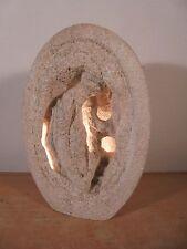 Lampe Vintage 80 Rare Sculpture Pierre par Arsène Galisson. Signée AG éra Tormos