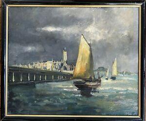 Tableau Post Impressionnisme Marine Pêcheurs au Port Peinture fin XIXème Anonyme