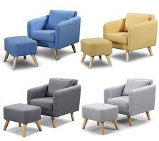 Modern Occasional Bedroom Arm Chair & Footstool Option Grey Yellow Blue Fabric