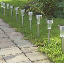 10 x Solar Powered Garden Lights Post Patio Outdoor Led Lighting Stainless Steel