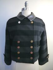 LOUIS VUITTON gray black stripe wool jacket leather collar gold logo buttons 38