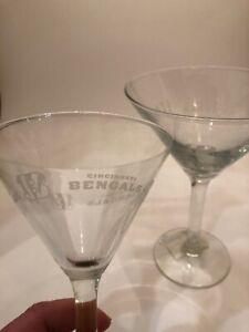 New Set Of 2 Cincinnati Bengals Satin Etched Martini Glasses Reg. $13.99 Each