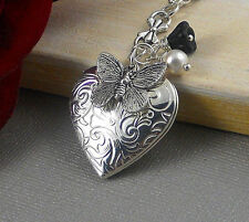 Silver Butterfly Locket, Butterfly Necklace,Vintage Inspired, Locket Charms