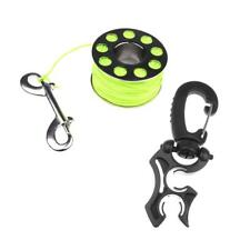 31m Scuba Spool Finger Reel with Snap + Silicone Dive Hose Holder with Clip
