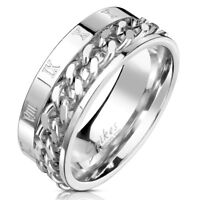 New Mens Steel SPIN CHAIN Ring Roman Numeral Band Choose Size UK SELLER (30J)