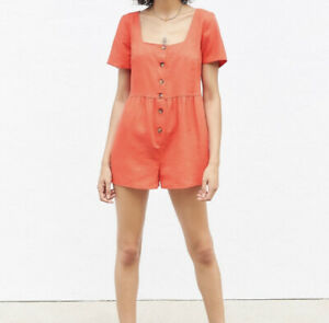 NWT Urban Outfitters Urban Renewal Medium Linen Button Front Shorts Romper Eco