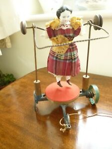 "Antique Rare American pull-along skipping doll on wheels 1860s 9"" (23cms) tall"