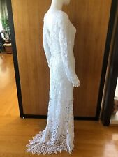 Lim's Vintage All Hand Crochet Wedding Dress with Matching Lining, Size S to M