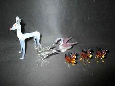 lot de 6 animaux en verre filé biche oiseau et chien XX ème