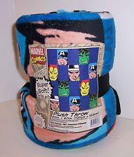 "Marvel Comics Super Soft Blanket Throw 50"" X 60"" Hulk Iron Man Capt America New!"