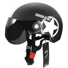 Casque de moto scooter réglable Casque Demi-Casque Noir Etoile à Cinq pointes