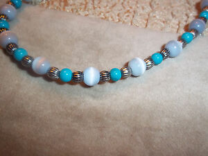 Handmade 11.5 inch WHITE and BLUE Glass Bead ANKLET and Tibetan Silver Z-15
