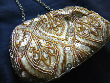 Gold Iridescent Beaded Sequin Clutch Bag Purse with silver chain Evening Wedding