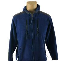 LL Bean Men's Fleece Jacket Full Zip Blue Turtleneck Sweater SZ M Medium
