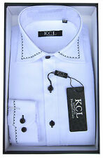 Boys Boxed Shirt Pattern Collar By KCL London Long Sleeved Shirt Ages 1Y-15Years