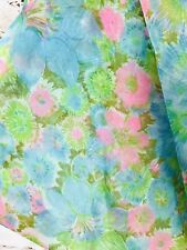 Vintage 60s Groovy Sheer Bright Pink Green Blue Floral Fabric 2+Yards