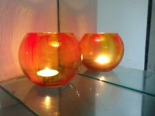Candle Holders One Hand Painted Tea Light soft light dinner blue and red