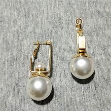 Orecchini`Orecchie Dormeuse Dorato Grandi Doppio Perla Bianco CC10