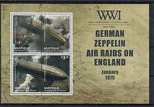 Mustique Gren St Vincent 2014 MNH WWI German Zeppelin Air Raids 4v MS Stamps