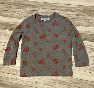 Baby Gap + Junk Food Toddler Boys Long Sleeve Gray Superman Shirt 3T