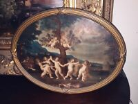 Antique Victorian Cherub Lithograph Gold Gilt Wooden Gesso Oval Picture Frame