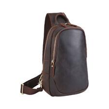 Men Leather Sling Bag Chest Bag Cross Body Day Pack Sport Shoulder Bag Backpack