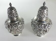 W B MFG CO C-102 SALT AND PEPPER SHAKERS REPOUSSE STYLE SILVER PLATED
