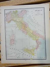 Nice colored map of Italy or Turkey & Greece. Cram's Atlas of the World.