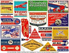 Airline Luggage Label, 2 Sticker Sheets, Retro Plane, Air Cargo, Air Mail Label