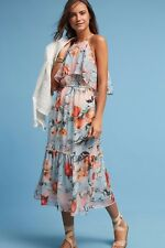 NWT ANTHROPOLOGIE POPPY HALTER PRINTED MIDI DRESS by DONNA MORGAN 14