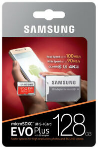 Samsung 128GB EVO Plus Class 10 Micro SDXC 4K UHD Video+ SD Adapter (MB-MC128GA)