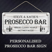 Personalised Prosecco Bar Sign | Hanging Metal Plaque For Gifts, Mancave, Bar