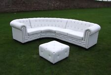 White PU Leather Chesterfield Corner Group - Diamanté Buttons 1+2+ Footstool.