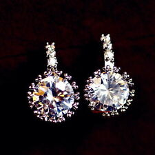 White Gold Filled Made with Swarovski Crystal Dangle Drop Bridal Earring IE101