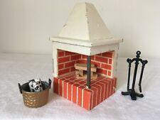 Vintage LUNDBY ? Scandi Dolls House OPEN CORNER FIRE PLACE  1:16/18