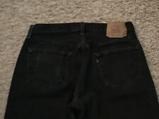 Levi's 501 Button Fly Jeans BLACK Mens tag=36x30 (MEASURED=32x28) (5266)