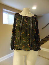 Princess Vera Wang Lace Peasant Blouse Navy Blue Floral Pattern Size:Small NEW