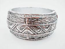 """Vintage Carved Pattern  Silver Tone Metal Bangle Bracelets 1.2"""" Wide"""