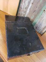 Vintage Black Safety Deposit Box w/ Latch Handle