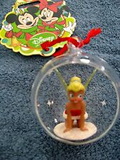 2012 DISNEY STORE TINKERBELL  SITTING IN A GLASS BALL-OPEN IN FRONT ORNAMENT-NWT