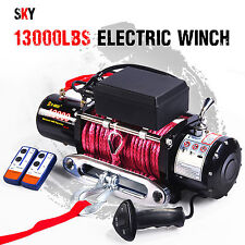 12V Wireless Synthetic Red Rope 13000LBS/5897KGS Electric Winch 4WD 4x4 Boat