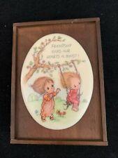 Vintage Betsey Clark Wood Ceramica Friendship Plaque Cute Girls Swing Hallmark