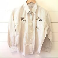 Las Olas Womens Large Cream Button Down Embroidered Cats Long-sleeved Shirt