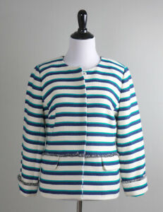 TALBOTS NWT $169 Woven Striped Lined Snap Up Fringe Trim Jacket Top Size 4