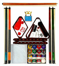 Billiard - Pool Table Accessory Kit W/ Dark Marble  Ball Set Mahogany Finish
