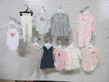 11 NEWBORN GIRLS INFANT 0-3M CARTER LITTLE WONDER LOT CLOTHES ONE PIECE SLEEPERS