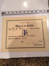 1913 Football vintage Certificate signed by phsical director