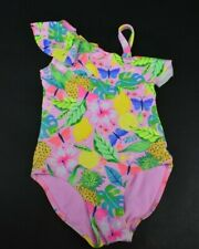 H&M Girls Size 4-6 Year Floral Print Pink 1 Piece Swimsuit Ruffles Double Strap